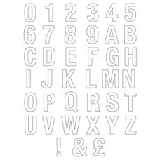 75mm White Helvetica Bold Condensed Style Vinyl Letter & Numbers Starter Pack