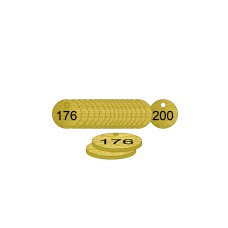 27mm dia. Brass Filled Tags (176 to 200)