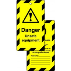 Lockout tags - Danger Unsafe equipment (Double sided 10 pack)