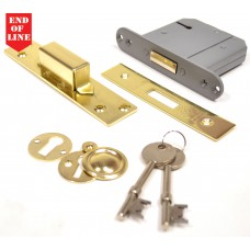 "75mm (3"") Brassed 5 Lever BS3621 Mortice Dead Lock"