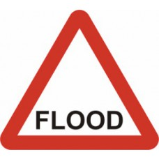 600mm tri. Dibond 'FLOOD' Road Sign (with channel)