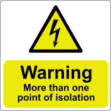 Warning more than one point of isolation - Pack of 25 SAV (75 x 75mm)