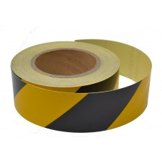 Black/yellow Reflective tape 50mm x 25mtrs