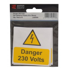 Danger 230 Volts - Pack of 5 PVC (75 x 75mm)