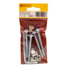M6 x 60mm ZP Furniture Bolts & Nuts With Hex Key (Pack of 5)