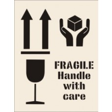 Fragile Handle With Care Stencil (190 x 300mm)