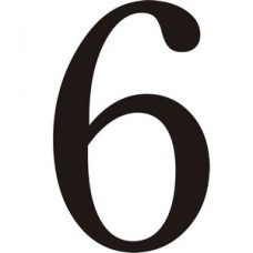 51mm Black Traditional Oldstyle Font Vinyl Number 6   (Pack of 10)