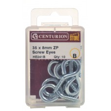 35 x 8mm ZP Steel Screw Eyes (Pack of 8)