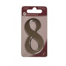 """3"""" Silver Effect Numeral 8"""