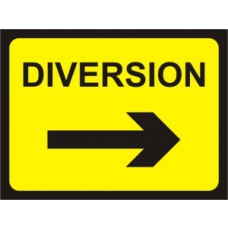 600 x 450mm Temporary Sign & Frame - Diversion (arrow right)