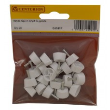 15mm Diameter White Nail In Shelf Supports (Pack of 20)