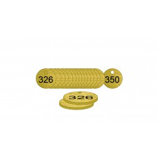 27mm dia. Brass Filled Tags (326 to 350)