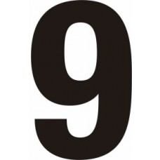 75mm Black Helvetica Bold Condensed Style Vinyl Number 9