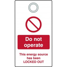 Lockout Tag with eyelet - Do not operate (Double Sided, Pack10 Tags)