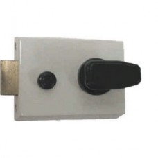White Standard Double Locking Nightlatch Brassed Cylinder