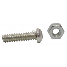 "1"" x 1/4"" ZP Machine Screws & Nuts  (Pack of 3)"