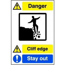 Quarry Sign: Cliff edge / Stay away - DIB (400 x 600mm)