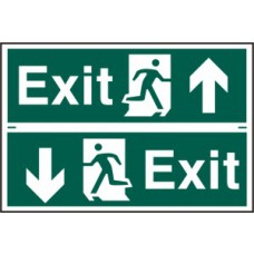 Exit man running arrow up/down - PVC (300 x 200mm)