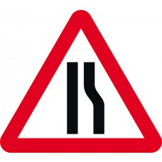 Road narrows offside - TriFlex Roll up traffic sign (750mm Tri)
