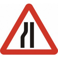 750mm tri. Temporary Sign & Frame - Road Narrows Left