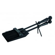 (W) Fireside - Shovel & Brush Set - Black