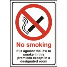It is against the law to smoke in these premises except - RPVC (148 x 210mm)