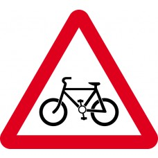 600mm tri. Dibond 'Cycle route ahead' Road Sign (with channel)