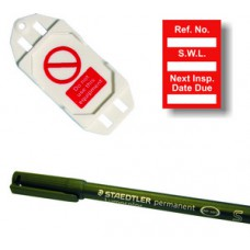 Safe Working Load Mini Tag Insert Kit - Red (20 AssetTag holders, 40 inserts, 1 pen)