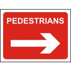 1050 x 750mm  Temporary Sign & Frame - Pedestrians (arrow right)