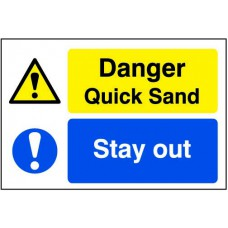 Quarry Sign: Danger Quick sand / Stay out - DIB (600 x 400mm)
