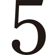 51mm Black Traditional Oldstyle Font Vinyl Number 5   (Pack of 10)