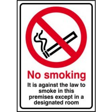 It is against the law to smoke in these premises except - SAV (148 x 210mm)