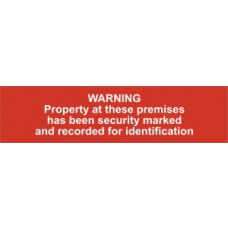 Warning Property at these premises has been security marked... - PVC (200 x 50mm)