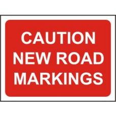 1050 x 750mm  Temporary Sign & Frame - Caution New road markings