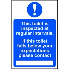This toilet is inspected at regular intervals - PVC (200 x 300mm)