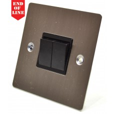 Satin Chrome Flat Plate Double Switch