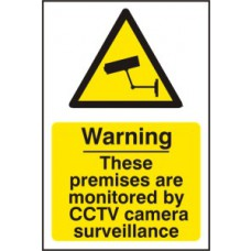 Warning These premises are monitored by CCTV camera surveillance - PVC (200 x 300mm)