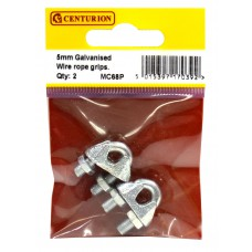 5mm Galvanised Wire Rope Grips (Pack of 2)