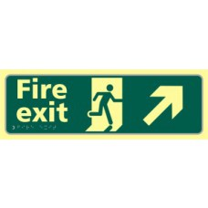 Fire exit man running arrow up/right - TaktylePh (450 x 150mm)