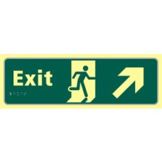 Exit man running arrow up/right - TaktylePh (450 x 150mm)