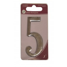 """3"""" Silver Effect Numeral 5"""
