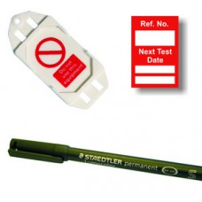 Next Test Mini Tag Insert Kit - Red (20 AssetTag holders, 40 inserts, 1 pen)