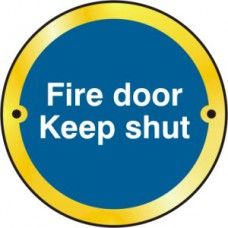 Fire door Keep shut door disc - PB (75mm dia.)