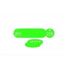 27mm dia. Traffolite Tags - Green (201 to 225)