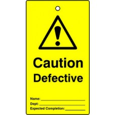 Lockout tags - Caution Defective (Single sided 10 pack)