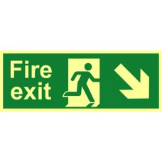 Fire exit (man arrow down/right) - PHS (400 x 150mm)