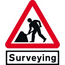 Road works & Surveying Supp plate - Classic Roll up traffic sign (750mm Tri)