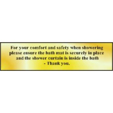 For your comfort and safety when showering... - POL (200 x 50mm)