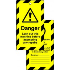 Lockout tags - Danger Lock out this machine... (Double sided 10 pack)