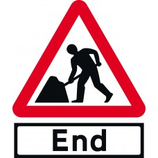 Road Works with End Supp plate - TriFlex Roll up traffic sign (750mm Tri)